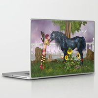 the last unicorn Laptop & iPad Skins featuring The Last Black Unicorn by Simone Gatterwe