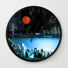 3d Art Digital Art Cave Lake Wall Clock