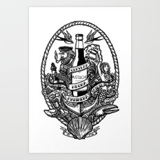 Cerveza Mustache Art Print