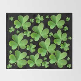 Clovers on Black Throw Blanket