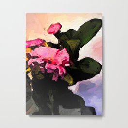 Flowers of Pink on the Left, Green Leaves on the Right Metal Print