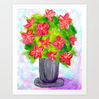 Pewter Vase with Orange Flowers Art Print