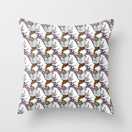 Sloth wearing a Narwhal shirt riding a Unicorn Throw Pillow
