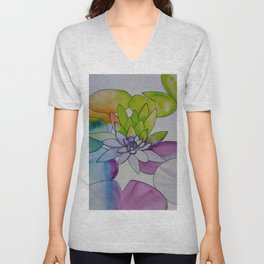 Water Color Lily Unisex V-Neck