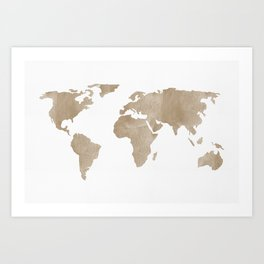World Map - Beige Watercolor Minimal on White Art Print