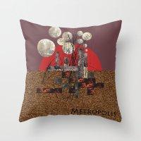 metropolis Throw Pillows featuring Metropolis by beataS