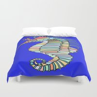 metallic Duvet Covers featuring Metallic Seahorse by J&C Creations