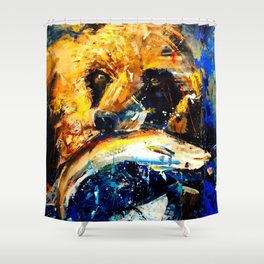 Gon' Fishin. brown. bear. fishing. wildlife. Shower Curtain