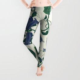Blue Vintage Flower Pattern Leggings