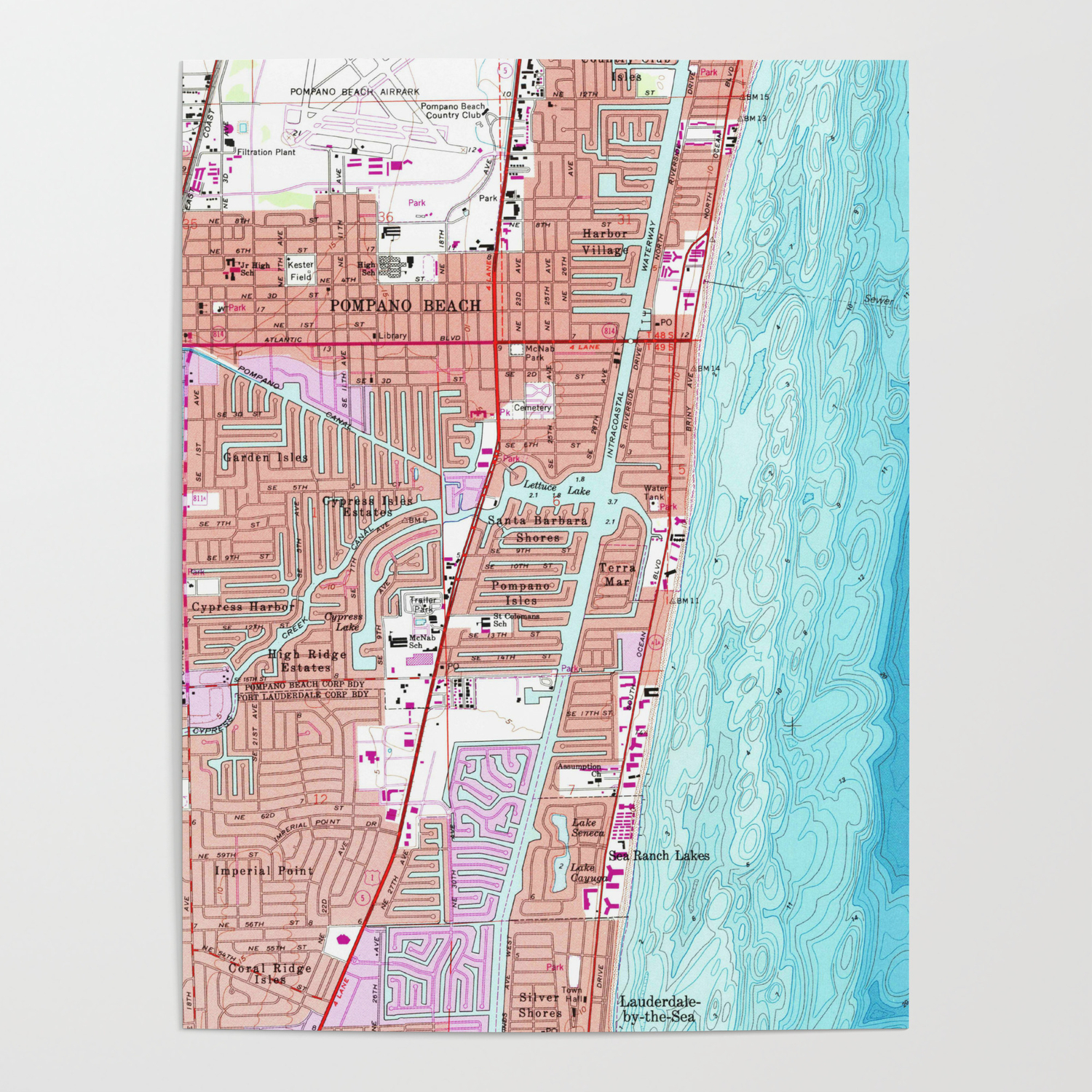 Vintage Map Of Pompano Beach Florida
