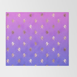 Pink Purple Blue Gradient With Rose Gold Unicorn Pattern Throw Blanket
