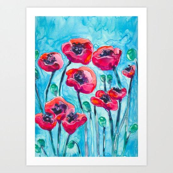 Poppy Sky Art Print