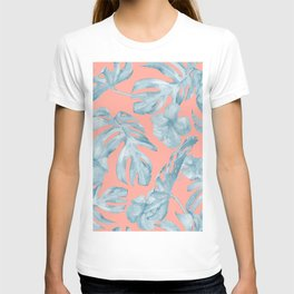 Island Life Pale Teal Blue on Coral Pink T-shirt