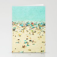 monkey island Stationery Cards featuring Coney Island Beach by Mina Teslaru