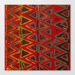 Aztec Fire Ritual Batik Canvas Print