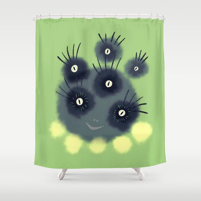 Creepy Cute Spider Face Monster Shower Curtain