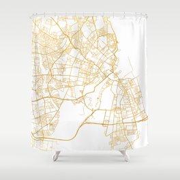 COPENHAGEN DENMARK CITY STREET MAP ART Shower Curtain