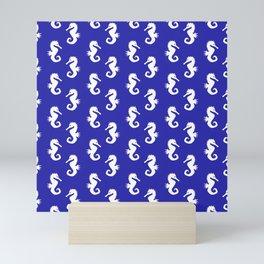 Seahorses (White & Navy Blue Pattern) Mini Art Print