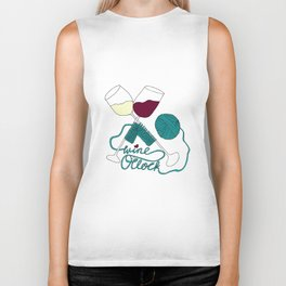 Wine o'clock (teal) Biker Tank