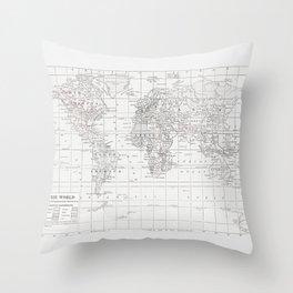 World Map ~ White on White Throw Pillow