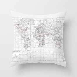 World Map ~ White on White Throw Pillow