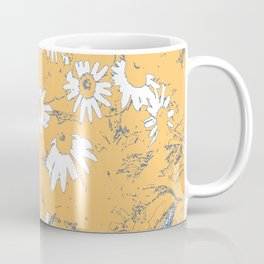 White Coneflowers with Orange Background Coffee Mug