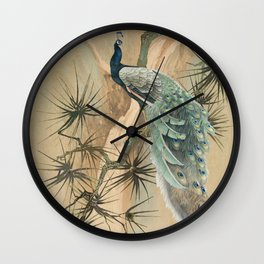 Peacock In The Pines Wall Clock