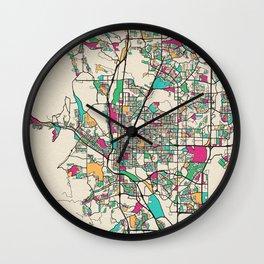 Colorful City Maps: Colorado Springs, Colorado Wall Clock