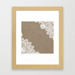 Lace Corners on Burlap Framed Art Print