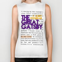 fitzgerald Biker Tanks featuring The Great Gatsby - F. Scott Fitzgerald / Book Cover Art Poster  by FunnyFaceArt