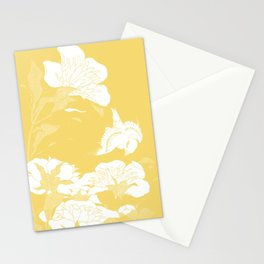 japanese flowers. Yellow Stationery Cards