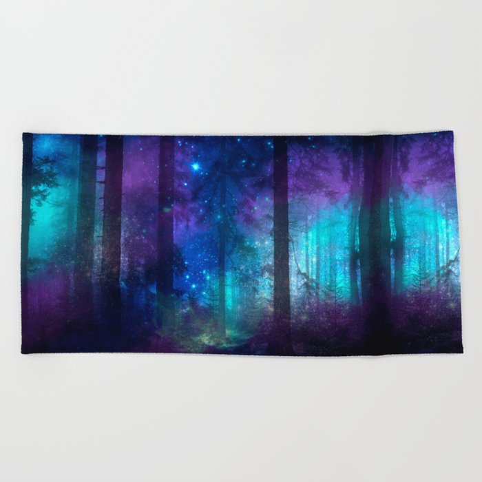 Out of the dark mystic light Beach Towel