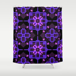 Purple Lilac Techno Shapes Pattern Shower Curtain