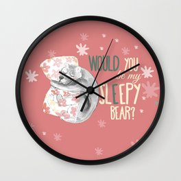 Would you be my sleepy bear? #pink flamingo (c) 2017 Wall Clock