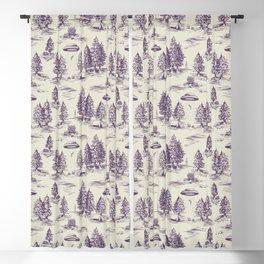 Purple Alien Abduction Toile De Jouy Pattern Blackout Curtain