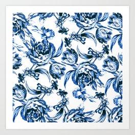 Bleu Fleurs Art Print
