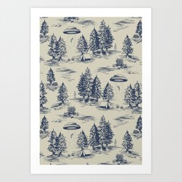 Alien Abduction Toile De Jouy Pattern in Blue Art Print