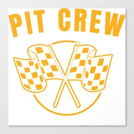 Automotive Race Car Sports Team Pit Crew Racing Car Racetrack Checkered Flag T-shirt Design Canvas Print