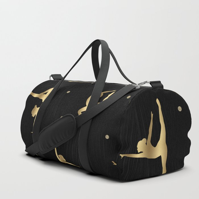 000a5388d84 Black and Gold Gymnastics Duffle Bag by histrionicole | Society6