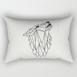Geometric Howling Wild Wolf Rectangular Pillow