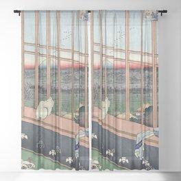 Utagawa Hiroshige Japanese Woodblock Cat Print Sheer Curtain