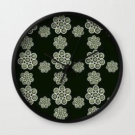 green flowers on black background. (https://society6.com/vickonskey/s?q=popular+prints ) Wall Clock