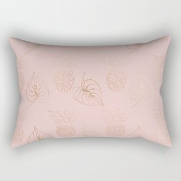Gold Leaves and Pineapples on Pink Rectangular Pillow