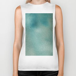 Hand painted blue teal abstract watercolor paint Biker Tank