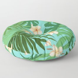 Tropical Leaves and Plumeria Flowers Floor Pillow