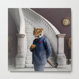 Tobias Tiger in the Entry Hall Metal Print