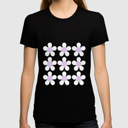 Spring Daisies - Geometric Design in Lilac Purple & White T-shirt