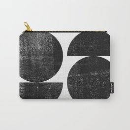 Black and White Mid Century Modern Circles Abstract Carry-All Pouch