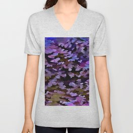 Foliage Abstract In Blue, Pink and Sienna Unisex V-Neck