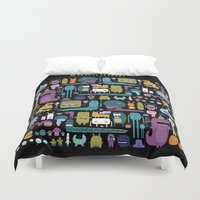 monsters Duvet Covers featuring MONSTERS by Piktorama